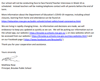 Parent Information regarding Covid-19